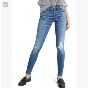 "Madewell 9"" HiRise Skinny Jeans Allegra Frayed Hem"